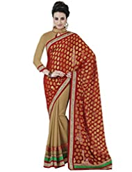 Beautiful Viscose Red Saree With Blouse