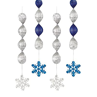 Pack of 4 Foil Hanging Swirl Snowflake Christmas Decorations 45cm