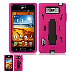 LG Venice LG730 Pink And Black Hardcore Kickstand Case