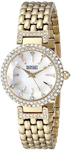 badgley-mischka-womens-ba-1344wmgb-swarovski-crystal-accented-gold-tone-bracelet-watch