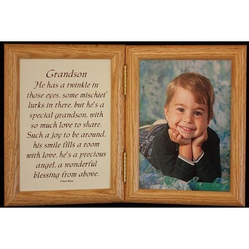 3 Save 5x7 Hinged Grandson Poem Oak Picture Photo Frame A