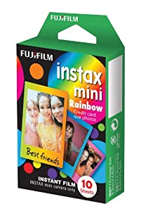 Fuji Instax Mini Films Rainbow Model Usable with Polaroid Mio & 300 -Lomo Diana Instant Back
