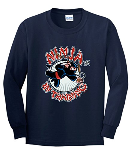 Ninja Sword Ninja Mask Ninja Stars Ninja in Training Youth Long Sleeve T-Shirt Small Navy (Big Mouth Toys The Ninja Mug compare prices)