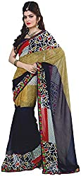 Ambica Saahi Women's Georgette And Chiffon Saree (Ambica 1010A_1)