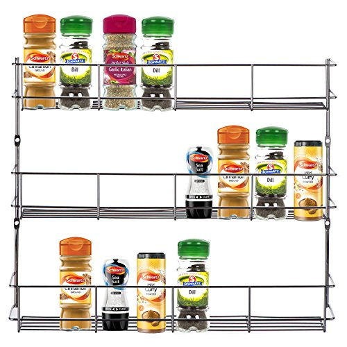 VonShef Présentoir à épices/herbes à 3 étages fixable au mur ou à l'intérieur d'un placard (Installation facile)