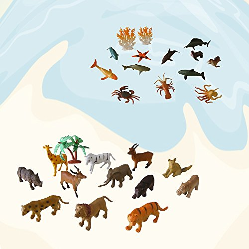 MOCOOL Small Jungle Animals and Ocean Animals Action Figures(27 pc)