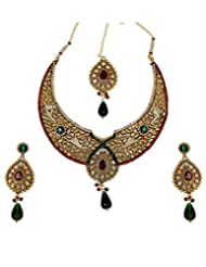 Asian Pearls & Jewels Multicolor Kundan Necklace Set For Women
