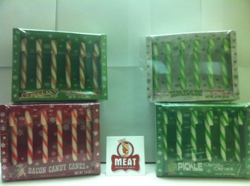 MEAT MANIAC ULTIMATE Novelty Candy Canes Sampler Gift Pack with Sticker- Bacon Candy Canes, Pickle Candy Canes, Gravy Candy Canes & Wasabi Candy Canes (Pickle Flavored Candy Canes compare prices)