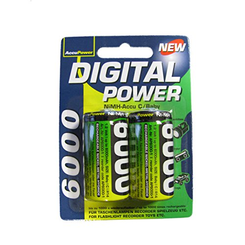 AccuPower AP 6000-2 Ni-MH rechargeables LR14 piles C 6000 mAh-Lot de 2