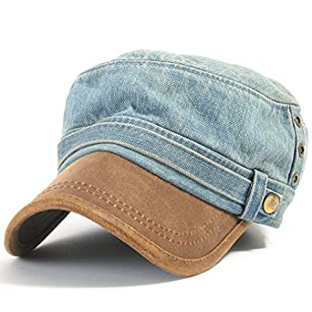 ililily Distressed Vintage Military Two-tone Denim Cadet Cap Flex-fit with Faux Leather Bill Army Camo style Hat (cadet-522-4)