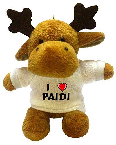 Plüsch Hirsch Schlüsselhalter mit T-shirt mit Aufschrift Ich liebe Paidi (Vorname/Zuname/Spitzname)