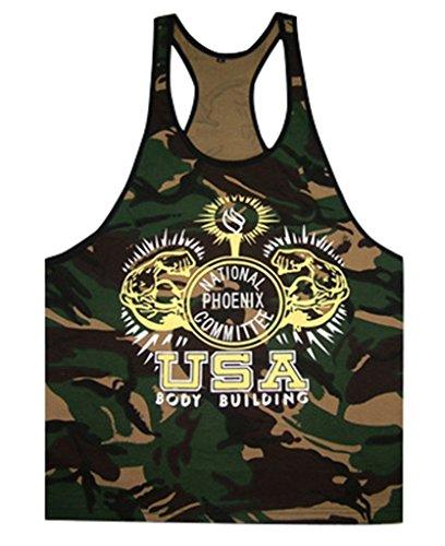 Gillbro Uomo stampa mimetica Singlets Stringer Bodybuilding Gym canotte,B,M