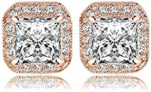 Comprar AnaZoz Joyería de Moda 18K Chapado en Oro Pendiente Cuadrado Chapado en Oro Rosa/Chapado en Platino SWA Elements Cristal Austria Pendientes