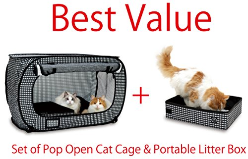 Set of Pop Open Cat Cage and Portable Litter Box (Black)
