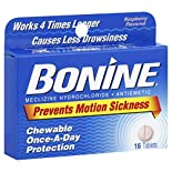 Bonine Antiemetic, Chewable Tablets, Raspberry Flavored, 16 tablets