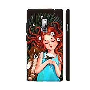 Colorpur Cute Dog With Girl Artwork On OnePlus 2 Cover (Designer Mobile Back Case) | Artist: Abhijeet Sinha