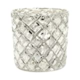 Luna Bazaar Home Decorative Accents Silver Mercury Glass Candle Holder Bubble Design