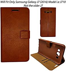 MACC Business Premium Faux Leather Flip Case Flip Cover for Only Samsung Galaxy J7 (2016) SM-J710 - with Stand , Magnetic Lock, Card & Currency Wallet - ( Executive Brown )