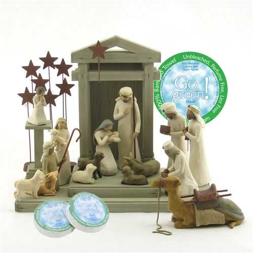 Willow Tree 17 Piece Nativity Set By Susan Lordi With Go Green