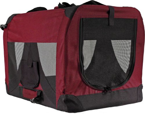 Red Soft-Sided Medium Folding Pet Travel Carrier Crate front-328646