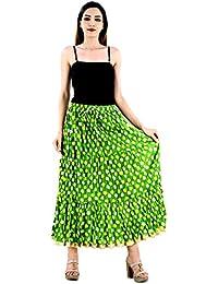 Shop Hatke Now Latest 2017 Jaipuri Regular Fit Green Full Long Cotton Skirt 166