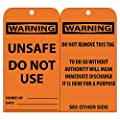 """NMC RPT150 """"WARNING - UNSAFE DO NOT USE"""" Accident Prevention Tag, Unrippable Vinyl, 3"""" Length, 6"""" Height, Black on Orange (Pack of 25)"""