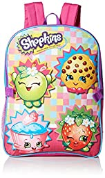 Shopkins Little Girls Backpack with Lunch Kit, Blue, One Size