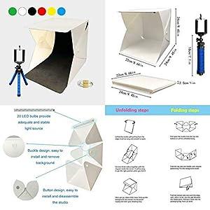 LAMZIX Portable Photo Studio,9.8 x 9.3 x 8.7 Adjustable Brightness Photography Studio Box Shooting Tent Mini Folding Table Top LED Light Box Kit with 6 Color Background and 40pcs led