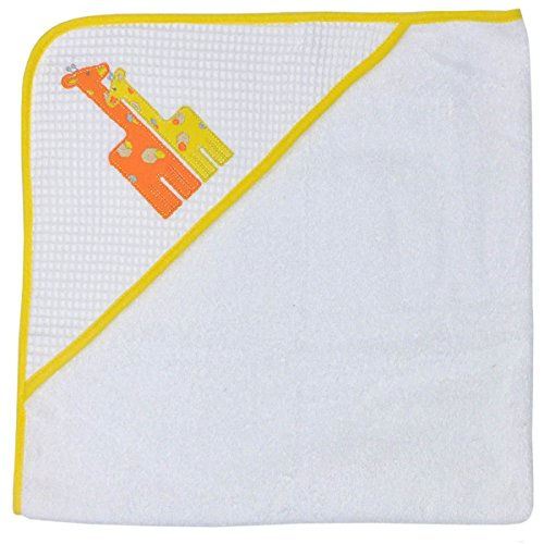 Happy Chic by Jonathan Adler Single Applique, Print Spa Waffle, Woven Terry and Interlock Hooded Towel, Yellow Giraffe