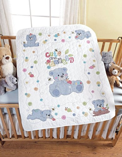 Bucilla Stamped Cross Stitch Kit, Cute and Cuddly Bears Crib Cover, 34-Inch by 43-Inch