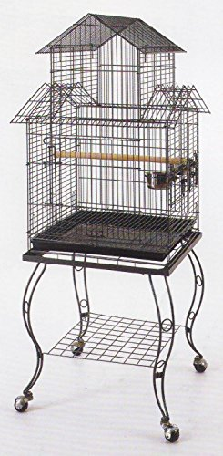 Large 20-Inch Pagoda Roof Top Top Parrot Lovebird Cockatiel Cockatiels Parakeets Bird Cage with Removable Stand, Black Vein