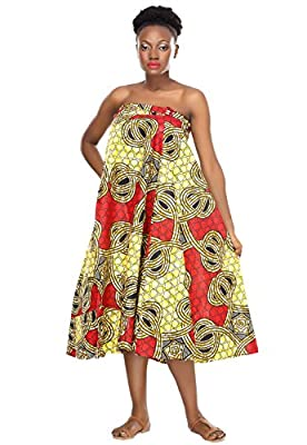 African Planet Women's Geometric Print Wax Wrap Around Skirt Ethnic Inspired