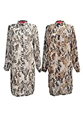 Lady Cute Dog & Cat Animal Print Chiffon Oversize Long Shirt Dress Holiday Beach Wear
