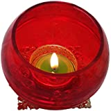 """Christmas Candles In Red Colour With Cones And Candle Set 6 (3.25"""" * 3.25"""" , Height: 3"""")"""
