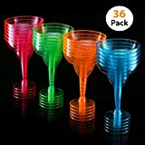 Set of 36 – Margarita Glasses 12-ounce Hard Plastic Cocktail Glass, Two Piece Party Shot Cup, Assorted Colors