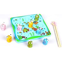 Generic Educational Toys 3D Wooden Magnetic Fishing Game Toy 8 Fish + 2 Fishing Rods For Kids Children