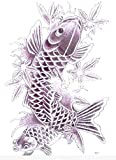 Large full back temporary tattoos dimension Length 12.6 X Wide 8.66 black and white fish temporary tattoos for men and women