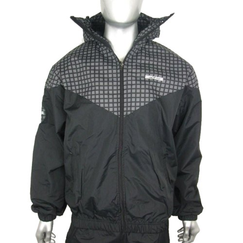 Mens Black Bomber Hooded Rain Windbreaker Jacket Coat