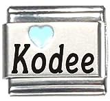 Kodee Light Blue Heart Laser Name Italian Charm Link