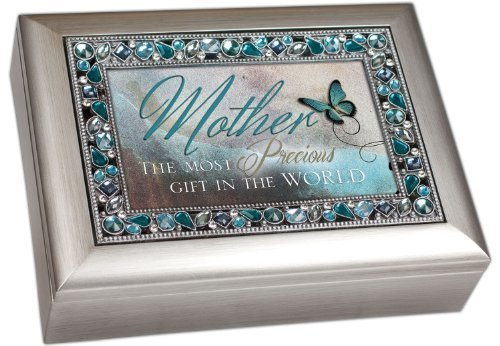 Mother The Most Precious Gift In The World Brushed Silver Finish Decorative Jewel Lid Musical Music Jewelry Box - Plays Wind Beneath My Wings By Cottage Garden Collections