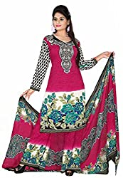 Women Icon Pink & Multi Printed Un-Stitched Plazzo Suit