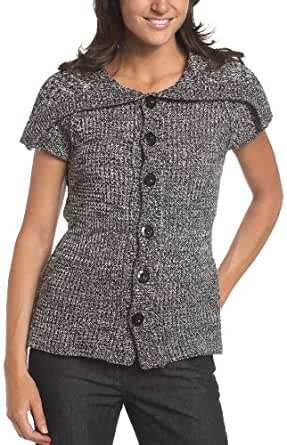 Kenneth Cole Women's Short Sleeve Foldover Collar Cardigan, Rich Black, X-Small