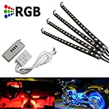 iJDMTOY 4pc Wireless Control 72 SMD RGB 7 Color LED Knight Rider Lighting Kit For Car SUV Truck Motorcycle Bike ATV Interior or Exinterior Use