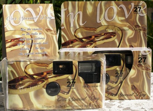 10 Pack Gold in Love Wedding Disposable 35mm Cameras in Gift Boxes with Matching Tents 27exp.