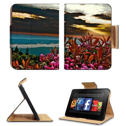 Summer Sunrise Mountain Flowers Amazon Kindle Fire Hd 7 [2012 Version Only September 14, 2012] Flip Case Stand Magnetic Cover Open Ports Customized Made To Order Support Ready Premium Deluxe Pu Leather 7 11/16 Inch (195Mm) X 5 11/16 Inch (145Mm) X 11/16 I front-934195