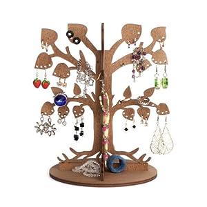 Arbre bijoux en bois cologique porte boucles d oreille organisateur des bijoux stand de - Arbre a bijoux en bois ...