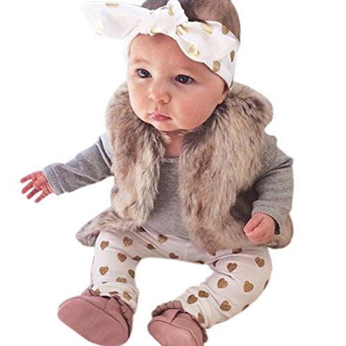 AMA(TM) 3PCS Newborn Baby Boys Girls Bear Romper+ Pants +Hat Outfits Clothes (12M, Grey)