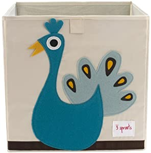 3 sprouts Storage Bin, Peacock