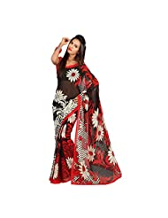 Admyrin Black And Red Georgette Printed Saree