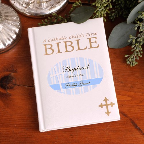 Personalized Blue Baptized Child's First Bible